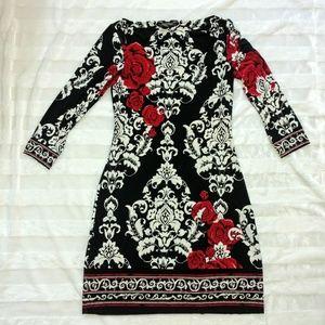 WHBM Rose Print Dress Black White sz Small